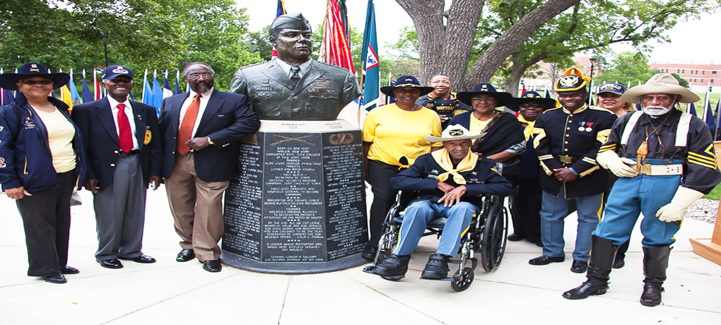 Sculptor Eddie Dixon - Past Natl Pres-Chapter Members by bust of GEN Colin Powell